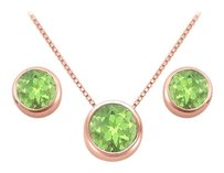 LoveBrightJewelry August Birthstone Peridot Pendant and Stud Earrings Set in 14K Rose Gold Vermeil