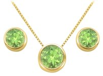 LoveBrightJewelry August Birthstone Peridot Pendant and Stud Earrings Set in 18K Yellow Gold Vermeil