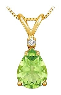 LoveBrightJewelry August Birthstone Peridot Teardrop Pendant with Cubic Zirconia in Gold Vermeil over Silver