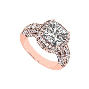 LoveBrightJewelry Beautiful Cubic Zirconia Engagement Ring 14k Rose Gold