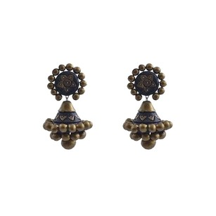 LoveBrightJewelry Black and Antique Gold Terracotta Silver Drop Earrings