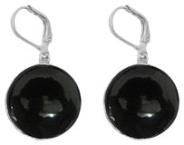 LoveBrightJewelry Black Onyx 925 Sterling Silver Earrings Lever Back