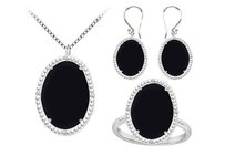 LoveBrightJewelry Black Onyx And Cubic Zirconia Pendant With Earrings & Ring Set In Sterling Silver 60.32 Ct Tgw