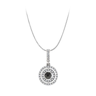 LoveBrightJewelry Black Onyx CZ Double Circle Pendant in 14K White Gold