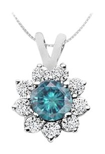 LoveBrightJewelry Blue Diamond Pendant 14K White Gold 0.75 CT Diamonds