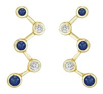 LoveBrightJewelry Blue Sapphire and Diamond Earrings 14K Yellow Gold 1.00 CT TGW