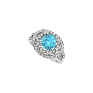 LoveBrightJewelry Blue Topaz and Cubic Zirconia Double Halo Engagement Ring