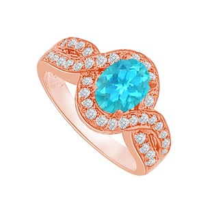LoveBrightJewelry Blue Topaz And Cz Curved Shank Ring Rose Gold Vermeil