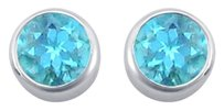 LoveBrightJewelry Blue Topaz Bezel Set Stud Earrings 925 Sterling Silver 2.00 CT TGW