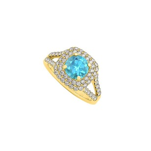 LoveBrightJewelry Blue Topaz Cubic Zirconia Halo Engagement Ring 1.50 Tgw
