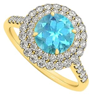 LoveBrightJewelry Blue Topaz Cubic Zirconia Halo Engagement Ring 1.75 TGW