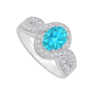 LoveBrightJewelry Blue Topaz CZ Twisted Shank Ring in 925 Sterling Silver