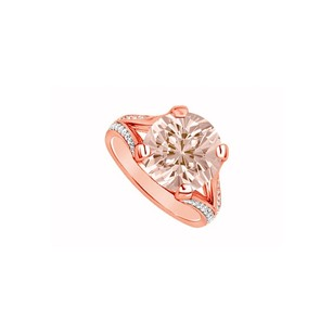 LoveBrightJewelry Bold Four Prong Set Morganite with Cubic Zirconia in Split Shank