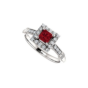LoveBrightJewelry Bold Square Ruby and CZ Halo Ring in 14K White Gold