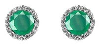 LoveBrightJewelry Brilliant Cut Emerald Centered CZ Earrings in Silver