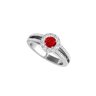 LoveBrightJewelry Broad Split Shank And Halo Ruby Cz 925 Silver Ring