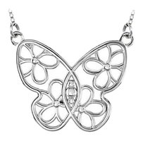 LoveBrightJewelry Butterfly and Floral Design Necklace in Rhodium Treated 925 Sterling Silver 28.00X34.75 MM