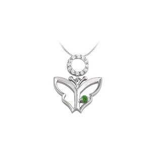 LoveBrightJewelry Butterfly Pendant Necklace with Cubic Zirconia and Created Emerald