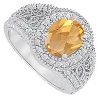 LoveBrightJewelry Citrine and CZ Filigree Ring in White Gold 2.00 CT TGW