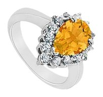 LoveBrightJewelry Citrine and Diamond Ring 14K White Gold 1.50 CT TGW