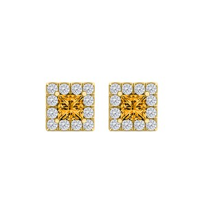 LoveBrightJewelry Citrine CZ Square Halo Stud Earrings 18K Gold Vermeil