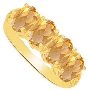 LoveBrightJewelry Citrine Four Stones Ring in 18K Yellow Gold Vermeil