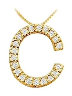 LoveBrightJewelry Classic C Initial Cubic Zirconia Pendant 18K Yellow Gold Vermeil 0.30 CT CZs
