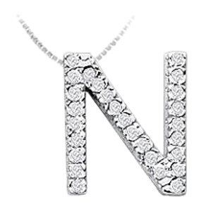 LoveBrightJewelry Classic N Initial Cubic Zirconia Pendant Sterling Silver 0.50 CT CZs