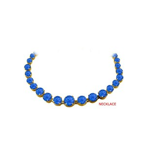 LoveBrightJewelry Classy Sapphire Graduated Necklace in 14K Yellow Gold