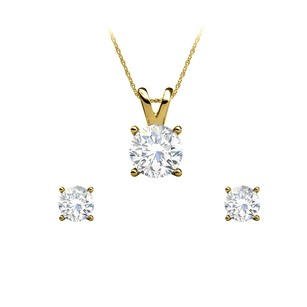 LoveBrightJewelry Conflict Free Diamond Earrings Pendant Set Jewelry Gift