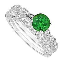 LoveBrightJewelry Created Emerald and Cubic Zirconia Engagement Ring with Wedding Band Set 925 Sterling Silver 0.50 Carat