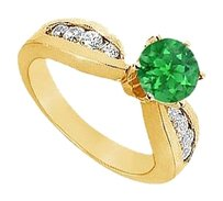 LoveBrightJewelry Created Emerald and Cubic Zirconia Engagement Ring Yellow Gold Vermeil 1.00 CT TGW
