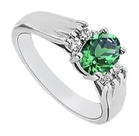 LoveBrightJewelry Created Emerald and Cubic Zirconia Ring 925 Sterling Silver 1.25 CT TGW