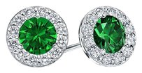 LoveBrightJewelry Created Emerald and CZ Halo Stud Earrings in Sterling Silver 1.50.ct.tw