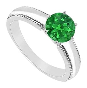 LoveBrightJewelry Created Emerald Ring 925 Sterling Silver 1.00 CT TGW