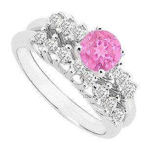 LoveBrightJewelry Created Pink Sapphire and Cubic Zirconia Engagement Ring with Wedding Band Set 925 Sterling Silver 0.75 Carat