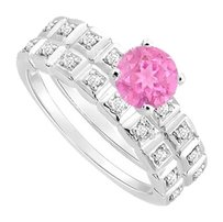LoveBrightJewelry Created Pink Sapphire and Cubic Zirconia Engagement Ring with Wedding Band Set 925 Sterling Silver