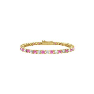 LoveBrightJewelry Created Pink Sapphire and Cubic Zirconia Tennis Bracelet in 18K Yellow