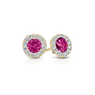LoveBrightJewelry Created Pink Sapphire and CZ Halo Stud Earrings in 14K Yellow Gold