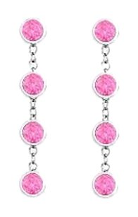 LoveBrightJewelry Created Pink Sapphire By The Yard Earrings in Sterling Silver Designer Style Chains One Carat TG