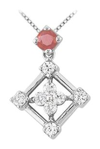 LoveBrightJewelry Created Ruby and Cubic Zirconia Pendant 925 Sterling Silver 1.00 CT TGW