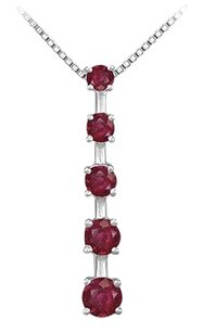 LoveBrightJewelry Created Ruby Journey Pendant 14K White Gold 1.00 CT TGW