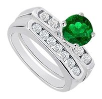LoveBrightJewelry Created Emerald & Cubic Zirconia Engagement Ring with Wedding Band Sets 925 Sterling Silver 1 Carat