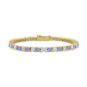 LoveBrightJewelry Created Tanzanite and Cubic Zirconia Tennis Bracelet with 1.50 CT TGW