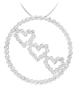 LoveBrightJewelry Cubic Zirconia Circle and Heart Pendant in 925 Sterling Silver 1.25 CT Tgw