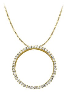 LoveBrightJewelry Cubic Zirconia Circle of Love Pendant in 18K Yellow Gold Vermeil 0.50 CT TGW