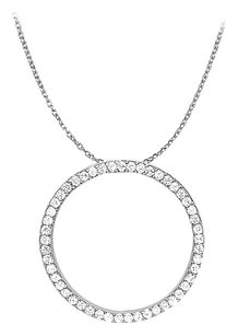 LoveBrightJewelry Cubic Zirconia Circle Pendant in 925 Sterling Silver 1.00 CT TGW,Jewelry Gift