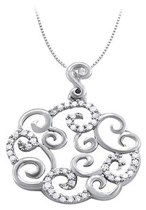 LoveBrightJewelry Cubic Zirconia Cloud Circle Shaped Pendant in Sterling Silver 0.25 CT TGW with 925 Silver Chain