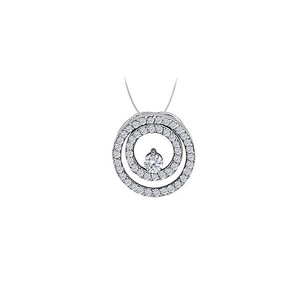 LoveBrightJewelry Cubic Zirconia Double Circle Pendant in Sterling Silver 0.50 CT TGW