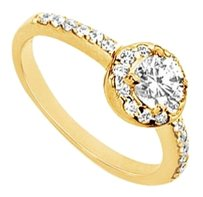 LoveBrightJewelry Cubic Zirconia Engagement Ring 18K Yellow Gold Vermeil 1.00 CT CZs